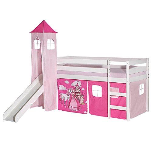 IDIMEX Rutschbett Benny Hochbett Kinderbett Spielbett Holzbett mit Rutsche, Vorhang und Turm Prinzessin Motiv rosa pink, Kiefer massiv weiß lackiert, 90 x 200 cm