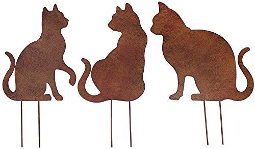 Metall Stecker Katze Rost Stecken Beetstecker Rasenstecker Deko Gras Mieze Kater Gartenstecker Rasen Blumenstecker Gartendekoration Katzenliebhaber Frühling Sommer Herbst Tierfigur braun(3 (3er Set))