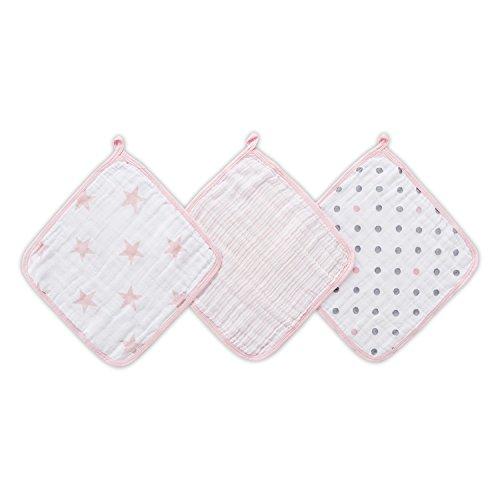 aden + anais™ essentials - Set de 3 débarbouillettes pour la toilette en mousseline 100% coton - Débarbouillette chic et pratique - Douce - Accrochable - Fille - Imprimé Doll - 30 cm x 30 cm