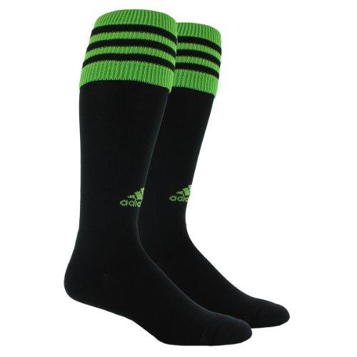 adidas Men's Copa Zone Cushion Sock, Black/Ray Green, Medium, Men's Shoe Size 5-8.5, Women's Shoe Size 5-9.5
