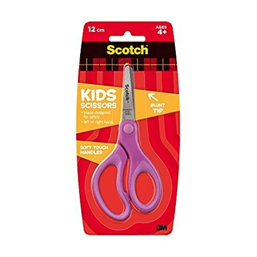 3M Scotch Kids Soft Touch Forbici, Adatte ai Bambini, con Lame in Acciaio Inossidabile e Antiadesivo, Punta Arrotondata e Impugnatura Comfort, Adatte