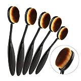 Elite Oval - Cepillos de maquillaje con diseño de cepillo de dientes ovalado, juego de cepillos para aplicar productos cosméticos (largos, color rosa dorado, 5 unidades)