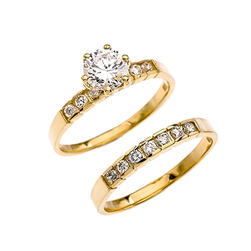 Yellow 9 ct Gold Channel Set Diamond Engagement and Wedding Ring Set with 1 Carat White Topaz Center Stone PII