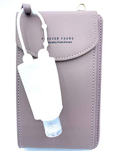 Mini Bolso Monedero Bandolera para Móvil Mujer + Bote Dispensador para Gel de Silicona (Rosa)…