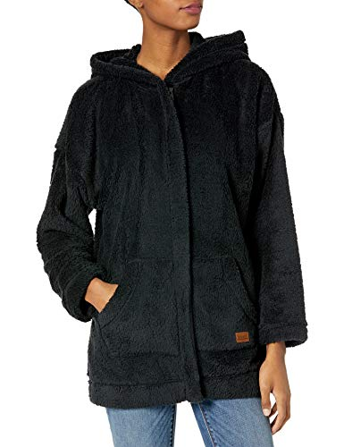 Roxy Women's Light of The Night Zip Up Sherpa Jacket, Anthracite, L