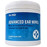 Pet MD Cat and Dog Ear Cleaner Wipes - Advanced Otic Veterinary Ear Cleaner Formula - Dog Ear Infection Treatment Helps Alleviate Ear Infections - 100 Alcohol Free Ear Wipes with Soothing Aloe Vera