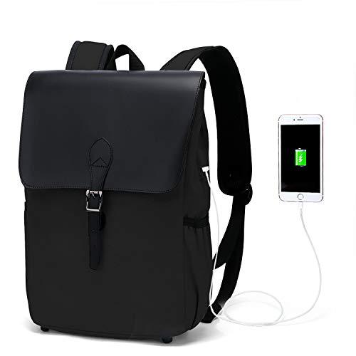 WindTook Rucksack Laptop Vintage Canvas Daypack Damen Schön Backpack 15 Zoll Schultasche Schulrucksack mit USB Kabel für Teenager Uni Arbeit Modisch Lässig Alltag Freizeit, 27 x 14 x 38 cm, Schwarz