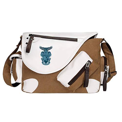 Boy Casual Shoulder Bag Ravenclaw Retro Pattern School Bag Girl Fashion Travel Messenger Bag 35x26x11cm Brown