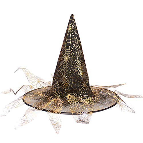 ruiruiNIE Adult Kids Unisex Wicked Witch Hat con Bronzing Spider Web Veil Halloween Magic Wizard Masquerade Party Cosplay Costume - Oro