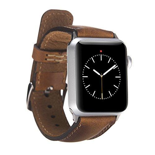 FREDO kompatibel Apple Smart Watch Series 1 / Series 2 / Series 3 / Series 4 Watch Echtleder Cognac Braun Armband (42 mm / 44 mm) mit Passendem Uhrenadapter Silber Connector