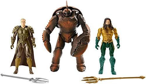 JUSTICE LEAGUE- Pack de 3 Figuras Aquaman, Multicolor, 15 cm (Mattel FWX38)