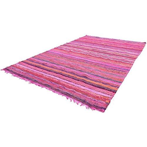 Tapis Indien bohémien réversible Fait à la Main - Tressé - Tapis décoratif Chindi - Tapis de Yoga - Coton - 1,8 x 0,9 m, Coton, Rose, 3.5ft X6ft