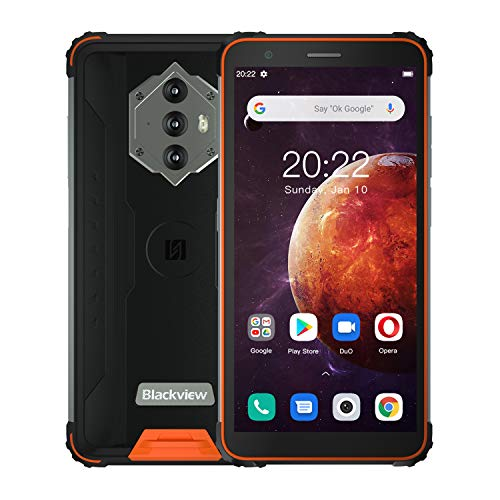Blackview BV6600 Teléfono Movil Resistente,Batería 8580mAh,4GB+64GB(SD 128GB) Ocho-Núcleos, Pantalla 5.7'+HD, Cámara 16MP+8MP,Android 10 Impermeable Smartphone,Dual SIM 4G,Carga Inversa,NFC,Tipo C,GPS