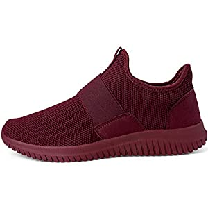 Troadlop Men Fashion Sneakers Laceless Lightweight Fashion Casual Non Slip Running Walkign Gym Shoes Red 7.5 M US
