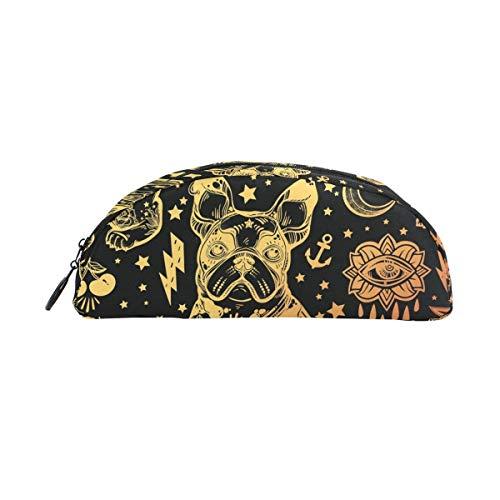 LLKK Federmäppchen, Vintage, traditionelles Tätowierungs-Motiv, große Kapazität, Stifttasche, Schreibtisch-Organizer, halbrund, Schreibwaren-Tasche, Halter für Schule und Büro
