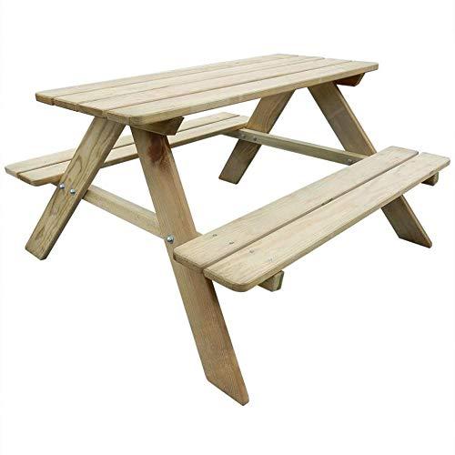 Mesa de picnic al aire libre, mesa de picnic de madera para niños, banco de mesa, muebles de jardín, autoclave, pino, resistente a la intemperie, 89 x 89,6 x 50,8 cm