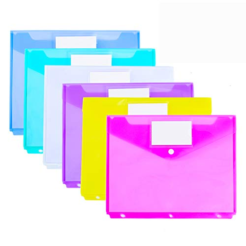12 Pack Poly Binder Pocket, Side Loading,Letter Size, Pocket Folders Poly Envelopes Clear Document Folders for 3 Ring Binder with Label Pocket & Snap Button