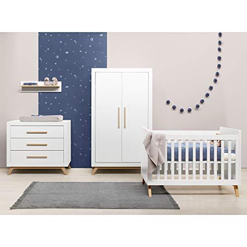 Chambre complète lit bébé 60x120, commode à langer et armoire 2 portes Fenna - Blanc et bois naturel