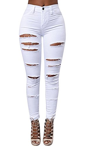 Lovits Women's High Waist Skinny Ripped Hole Denim Distressed Ripped Boyfriend Jeans Small White