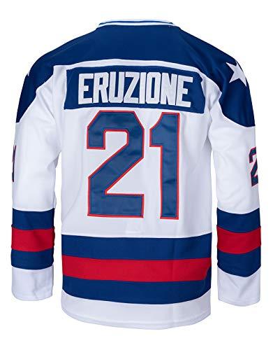 Youth 1980 USA Olympic #21 Mike Eruzione #17 O'Callahan #30 Jim Craig Miracle On Ice USA Hockey Jersey (21 White, Small)