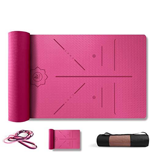 ZBK Esterilla de yoga, 6 mm de grosor, antideslizante, línea de postura, esterilla de yoga, 80 cm de ancho, 183 x 80 x 0,6 cm, 5 colores