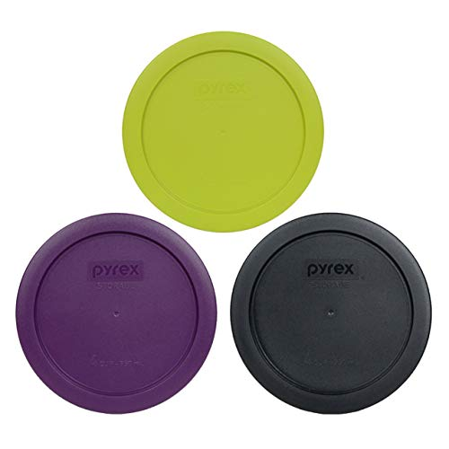 Pyrex 7201-PC 4 Cup Round Plastic Lids (1) Purple, (1) Black, and (1) Edamame Green - 3 Pack