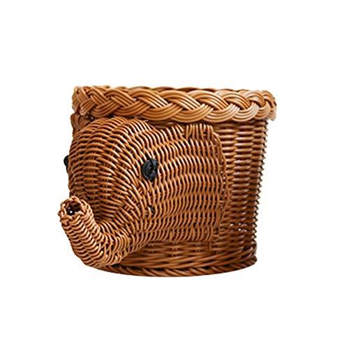 HJKGSVdv Cesta de mimbre creativa con forma de elefante, cesta de almacenamiento de animales, peces, animales, cesta de exhibición 2