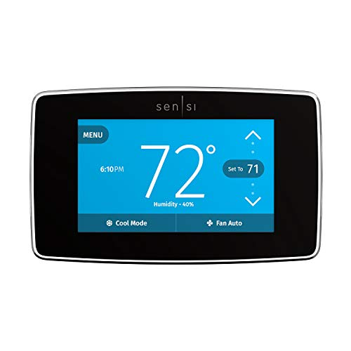 Emerson Sensi Touch Wi-Fi Smart Thermostat with Touchscreen Color Display, Works with Alexa, Black, Energy Star Certified, C-wire Required