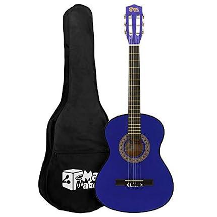 Mad About MA-CG02 Guitarra clásica, tamaño 3/4 Guitarra clásica azul - Guitarra española colorida con bolsa de transporte, correa, púa y cuerdas de repuesto