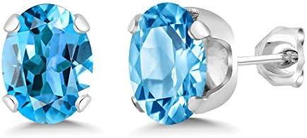 Gem Stone King 3 00 Ct Oval Cut Swiss Blue Topaz Gemstone Birthstone Stud Earrings 8X6mm product image