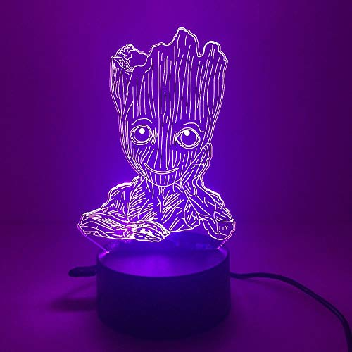 Lampada Da Illusione 3D Lampada Da Notte A Led Baby Action Figure Galaxy Guardians Anime Grunt Groot Comodino Decorazione Camera Da Letto Regalo Per Bambini
