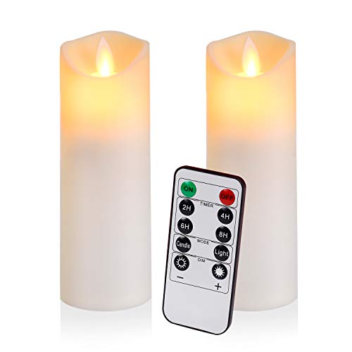 Flameless Candles Flickering Candles Battery Operated Candles Pack of 2 Frosted Plastic Candles Unmelting Include Realistic Dancing LED Flames and 10-Key Remote Control with 24-Hour Timer