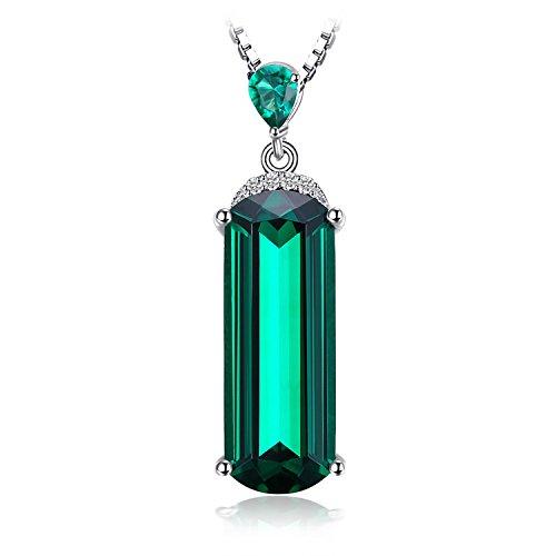 JewelryPalace 4.42ct Damen Geschenk Simulierte Grün Nano Russisch Smaragd Anhänger Halskette Kette Mit 45 Cm Box Kette Massivem 925 Sterlingsilber