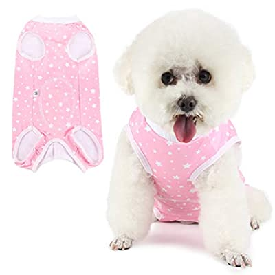 Due Felice Dog Professional Surgical Recovery Suit for Abdominal Wounds Skin Diseases, After Surgery Wear, E-Collar Alternative for Dogs, Home Indoor Pets Clothing Pink Star/S