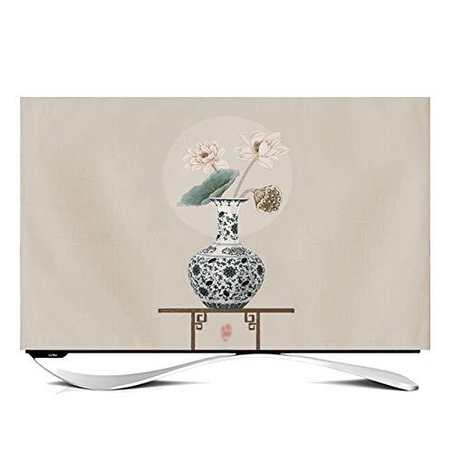 Funda Compatible con Monitor Cubiertas Protectoras Protector TV Interior Universal Funda para Televisor de 24' - 65' LCD, LED, ó Plasma -GAOGUIMEI Cubierta Antipolvo(Size:60inch,Color:Capullo de loto)