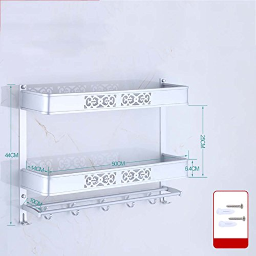 A salle de bain étagère Porte-serviette sculpté espace aluminium salle de bains étagère deux étages double levier installation perforée (40cm, 50cm, 60cm) (taille : 50 cm)