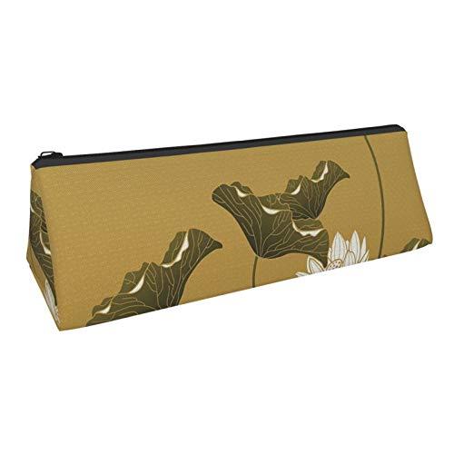 Lotus Painting Portable Fashion Pencil Case Multicolor Pencil Case Triangle Large Capacity Pencil Case