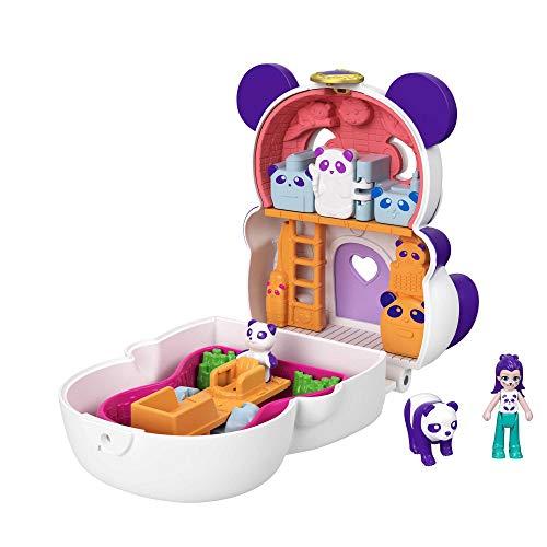 Polly Pocket GTM58 - Drehspaß-Schatulle Panda mit kleine Puppe, Pandafigur und versteckte Überraschungen, tolles Geschenk für Kinder ab 4 Jahren