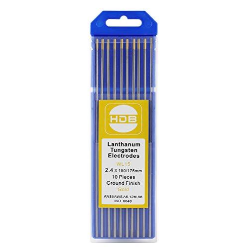Aguja de Electrodo de Tungsteno 10 Piezas WL-15 Oro Soldadura TIG de 2,4Ø x 175 mm