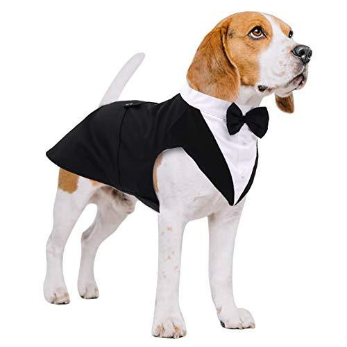 Kuoser Dog Tuxedo Dog Suit and Bandana Set, Dogs Tuxedo Wedding Party Suit, Dog Prince Wedding Bow...