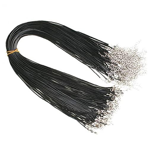 Bontannd Collar De Cuero De Cuero Negro De 10 Piezas De Cera De Imitación Cuerda Trenzada De 1,5 Mm con Cierre De Langosta para La Fabricación De Joyas