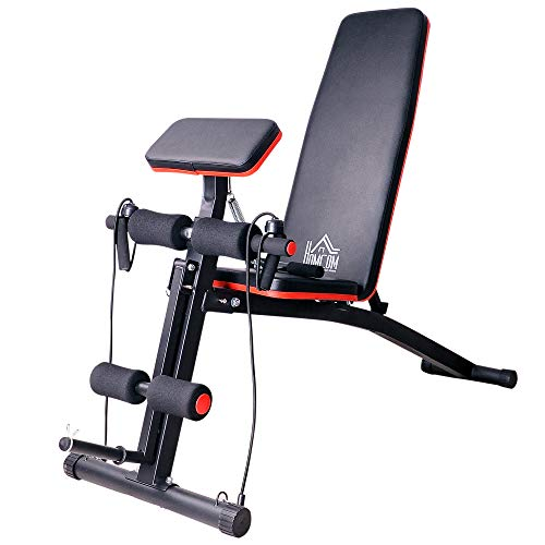 HOMCOM Folding & Tilting Dumbbell Bench Multifunctional Weight Bench for Complete Training Home Fitness Machine