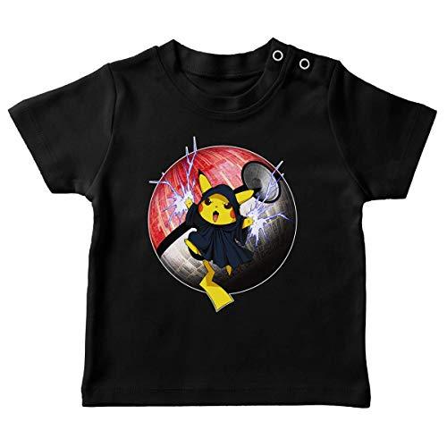 T-Shirt bébé Noir Parodie Star Wars - Pokémon - Pikachu et Palpatine Darth Sidious - Pika Dark Side : (T-Shirt de qualité Premium de Taille 6 Mois - imprimé en France)