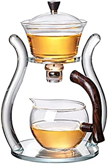 RORA Lazy Kungfu Glass Tea Set Magnetic Water Diversion Rotating Cover Bowl Semi-Automatic Glass Teapot Suit (Orange)