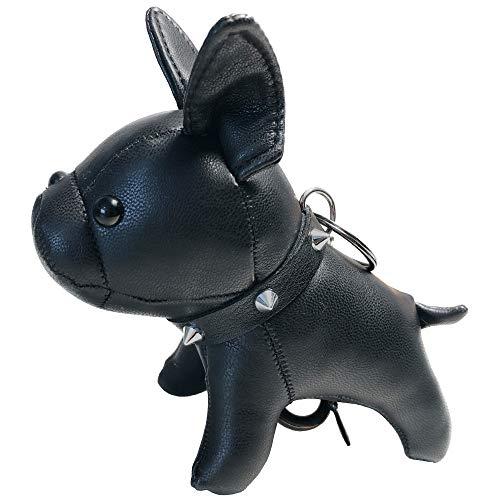 French Bulldog Leather Keychain Bag Charm, Car Key Chain Gift for Women Kids, Black, Medium