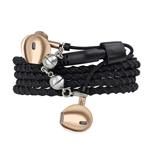 URIZONS In-Ear-Ohrhörer, Surround-Kopfhörer Sport-Headsets mit Mikrofon Fernbedienung für alle iPhone- und Android-Geräte Fabric Braided Tangle-Free Armband Black