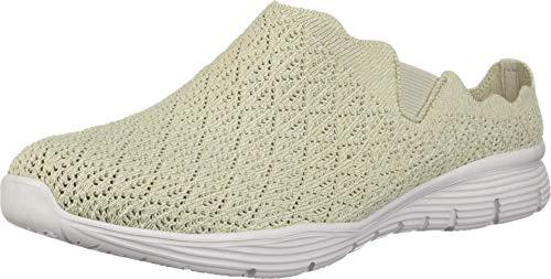 Skechers Seager-Westlake-- Zapatos de tacón de punto festoneado para mujer, beige (Natural),...