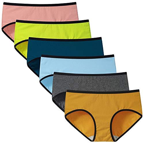 INNERSY Bragas Mujer Algodón Culotte de Cómoda Ropa Interior Pack de 6(L,Multicolor con Cinturilla en Contraste)