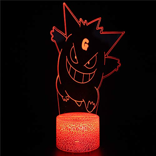 Monster 3 3D Illusion Lights Lamp Ice Crack Base LED Table Desk Decor 7 Colors Touch Control USB Powered