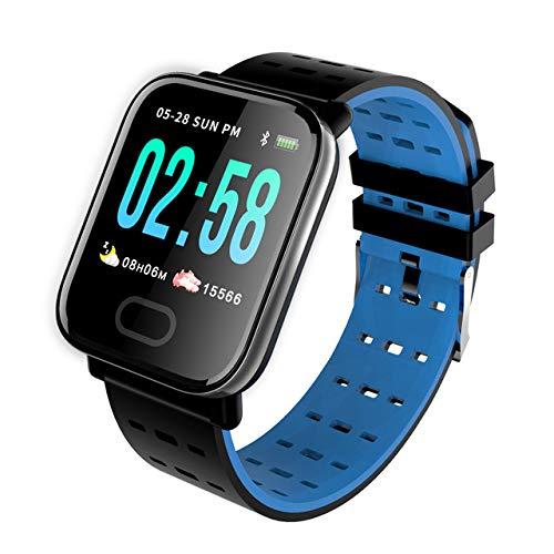 Gigicloud Smart Watch A6 Fitness reloj de pulsera con pulsómetro, presión arterial, monitor de sueño, podómetro, resistente al agua IP67, rastreador de fitness para hombre y mujer, azul